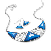 Ornate Dark Blue Crescent Shape Fashion Necklace and Earring Set