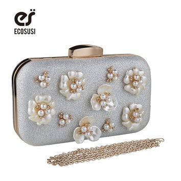 ecosusi 2017 Diamond-studded Evening Bag Party Bags With Flowers Women's Rhinestone Banquet Handbag Day Chain Clutch Bags Female