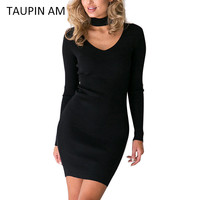 Black cotton bodycon autumn dress women 2016 choker neck evening party grey long sleeve mini dress sexy club wear