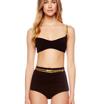 Michael Kors Collection High Waist Gold Chain Belt Bikini