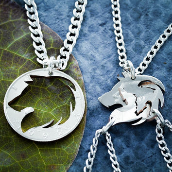 Best Friends Wolf necklaces, Wolf Pack, Family Jewelry By Namecoins