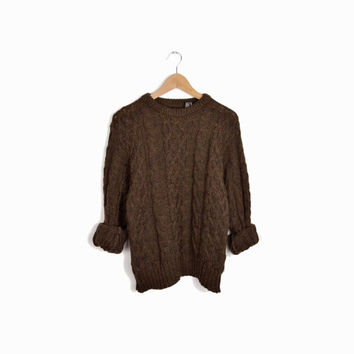 Vintage British Cable Knit Wool Sweater in Bark Brown - men's small/medium
