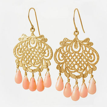 Coral and gold earrings - Chandelier earrings with 14k gold-filled ear hooks