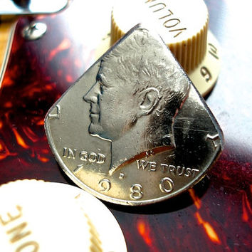Coin Guitar Pick -- 1980 Kennedy Half Dollar Guitar Pick
