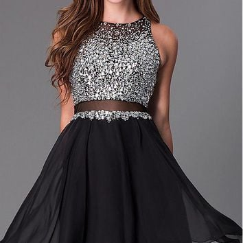 [99.99] Elegant Tulle & Chiffon High Collar Neckline A-line Homecoming Dresses with Beadings & Rhinestones - Dressilyme.com