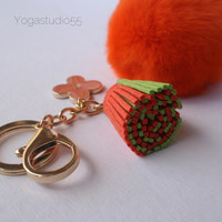 Pom-Perfect orange REX Rabbit fur pom pom ball keychain with duo tassel and flower keychain