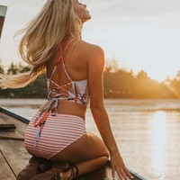 Sexy Women Halter Stripe Print Top Bottom High Waist Orange Stripe Print Back Bandage Two Piece Bikini Swimwear