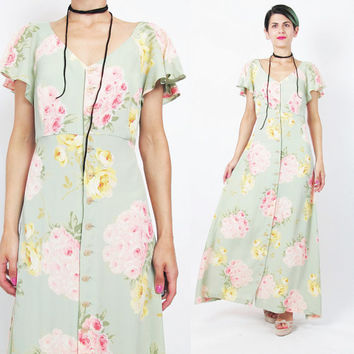 1990s BETSEY JOHNSON Dress 90s Grunge Floral Maxi Dress Pale Green Pink Roses Print Dress Button Down Front Dress  Flutter Sleeves Dress (L)