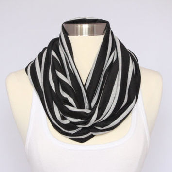 Jersey Knit Infinity Scarf - Black with Gray Stripes