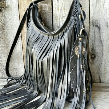 Black Leather Crossbody Boho Fringe Bag Gypsy Purse Tote Leath