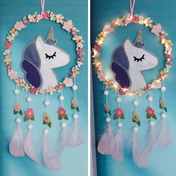 Fantasy Nordic Unicorn Dreamcatcher With Light Cute Wall Hanging Ornament Artwork for Girls Room Decoration Felt DIY Package