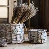 Rustic 'flowers' Willow Planter (Set of 2)