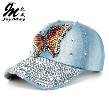DCCKHY9 Free shipping Fashion Cotton Jean Caps Women Rhinestone baseball cap Lady JEAN summer hat  jean snapback caps denim berets caps