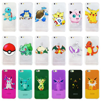 OWNEST Cute Pokemons Pikachus Case For Transparent Silicone Soft TPU cover print phone case for iphone 7 7 plus 5 5s 6 6S plus