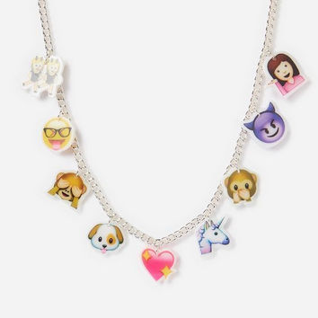 "Justice Girl's EMOJI Charm Necklace 16"" Long NWT"