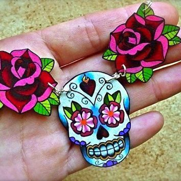 sugar skull and rose tattoo necklace day of the by wickedminky