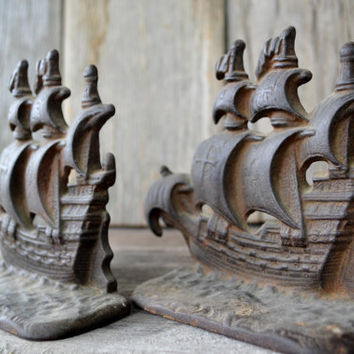 1928 Pirate Galleon Bookends/Doorstops
