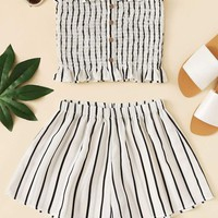 Frill Trim Striped Tube Top With Shorts
