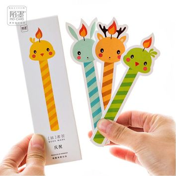 30Pcs/Pack Cute Animal Night Candle Luminous Fluorescence Bookmark Stationery Student School Office Gift M0078 TIAMECH
