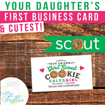 Girl Scout Cookie Business Cards. Cutest Cards Ever. Printable. Add Your Name & Number. No one will be able to resist this card