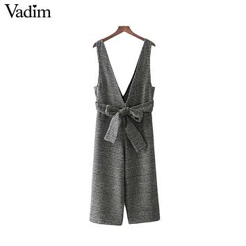 Vadim deep V neck bow sashes woolen plaid overalls retro thick warm autumn wear jumpsuit lady fashion streetwear rompers KZ1110