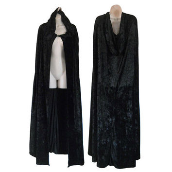 Black Hooded Cloak Long Cloak Women Cloak Hooded Cape Black Velvet Cape Gothic Cape Gothic Clothing Gothic Clothes Crushed Velvet Vintage