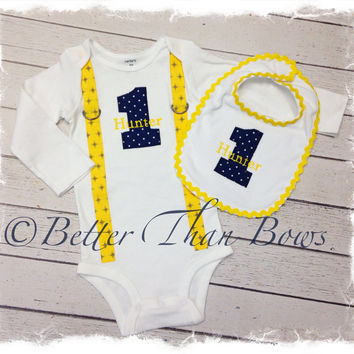 Baby Boys 1st Birthday Outfit-Boys Cake SmRic Rac Bib-Yellow, Gray, Navy Blue Birthday Outfit-Baby Boys Personalized Birthday Outfit