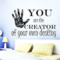 Wall Decals Quote You Are the Creator Decal Vinyl Sticker Home Decor Bedroom Interior Window Decals Mural Art