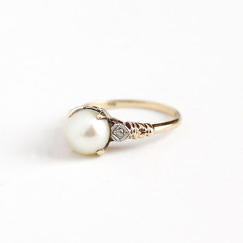Vintage 10k Rosy Yellow and White Gold Cultured Pearl & Diamond Ring - Size 5 1/4 Art Deco 1940s Two Tone June Birthstone Fine Jewelry