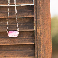 Pink Agate Bead Necklace// Simple Gemstone Bead Necklace