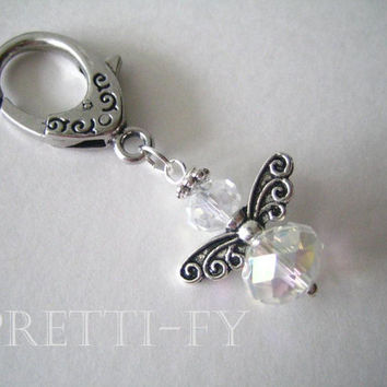 Small Crystal Angel Keychain Charm, Key Ring Charm, Angel Keychains, First Communion, Communion Favors, Event Favors, Unique Angels, Custom