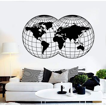 Vinyl Wall Decal Globe Map Of World Room Decoration Stickers Unique Gift (1471ig)