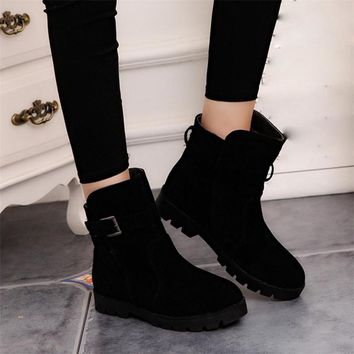 SAGACE Women Warm Snow Ankle Boots Buckle Match Solid Martin Boots Shoes High Quality Girls Hot Sale Winter Boots