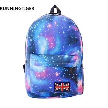RUNNINGTIGER Canvas Women Printing Backpack Casual School Bags For Teen Girls Large Capacity Rucksack Fashion Travel Bags