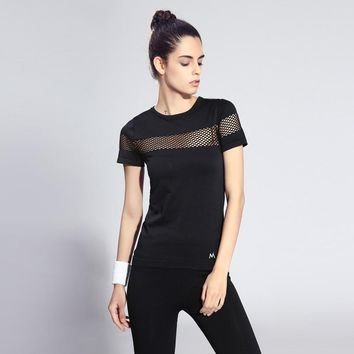 Rock Session Women's T-Shirt Black Workout Rack T-Shirt Rack-hollow Running TShirts 7 Colors Anti-wrinkle Fitness Gym Clothes