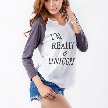 I'm really a Unicorn Graphic Baseball Tee