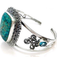 Turquoise Cuff Bracelet Natural Stone & Blue Topaz Silver Metal Wire Fashion Statement Vintage 1980s