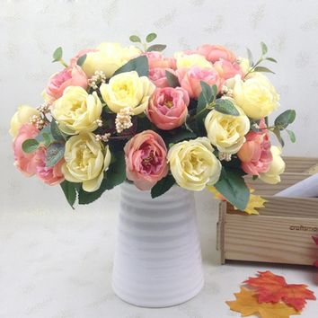 10 Heads Fleur Artificielle European Style Fake Artificial Peony Silk Decorative Party Flowers for Home Hotel Wedding Office Gar