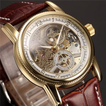 Luxury Golden Skeleton Mechanical, Steampunk, Male Clock Automatic Wristwatch
