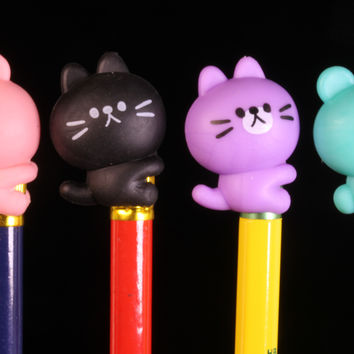 Set of Four Bear Pen and Pencil Hugger Erasers