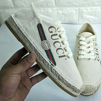 GUCCI New Popular Women Leisure Letter Print Comfortable Breathable Shoe Sneakers Beige I-OMDP-GD