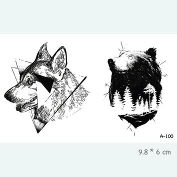 Bear Waterproof Temporary Tattoo Stickers for Adults Kids Body Art  Fake Tatoo for Women Men Tattoos A-100