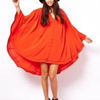 ASOS Cape Dress With Button Front