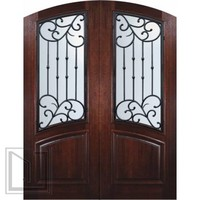 Prehung Double Door 96 Mahogany Catalina Arch Top Arch Lite