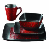 American Atelier Yardley 16-Piece Dinnerware Set, Red
