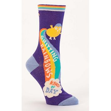 Sh*tting Rainbows Kind of Day Women's Crew Socks in Purple and Rainbow
