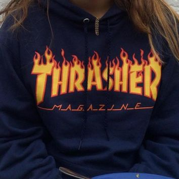 ThrasherMen and women with the flame hooded couples sweater Navy blue