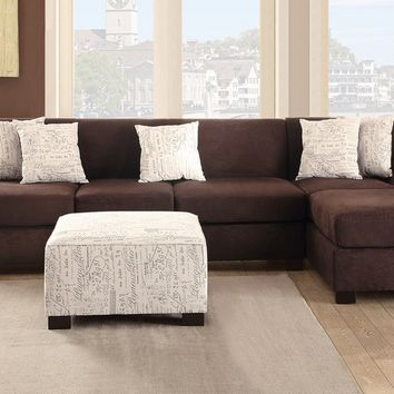 Poundex F7979-81 2 pc brenda collection chocolate microsuede fabric upholstered sectional sofa set with reversible chaise