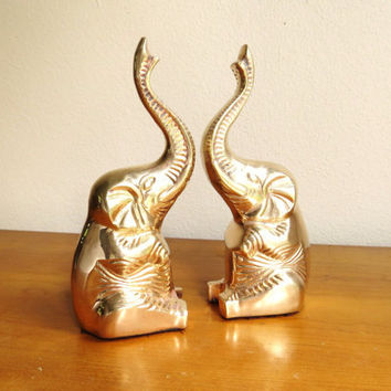 Vintage Brass Elephant Bookends, Gold Elephant Book Ends, Elephants Statue, Brass Figurine, Hollywood Regency