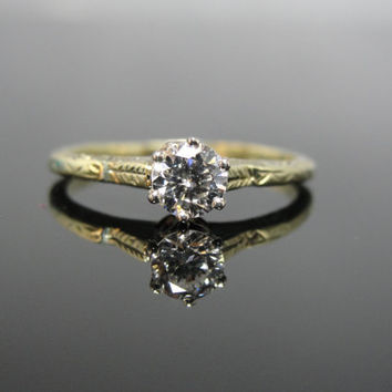 Reserved: Antique Victorian Diamond Solitaire Engagement Ring in Green Gold RGDI513